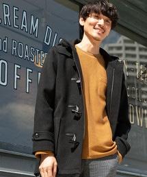針織莫爾敦牛角釦大衣(連帽大衣)