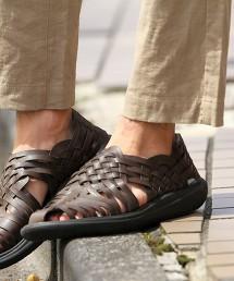 仿皮革編織涼鞋