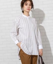 府綢 立領 長版襯衫