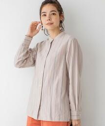 冬季亞麻 立領格紋襯衫(無領襯衫)#