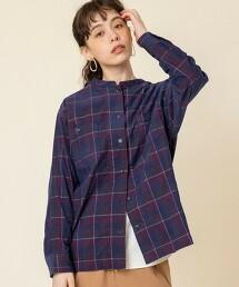 德州棉燈心絨立領格紋襯衫※此商品實際的產地為中國製造