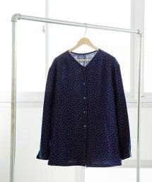 雙層棉紗 印花 V領罩衫