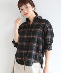 【2WAY】棉X亞麻X羊毛 格紋襯衫