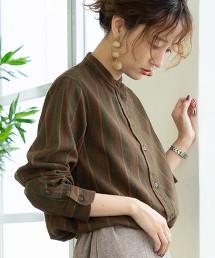棉/羊毛/亞麻立領襯衫