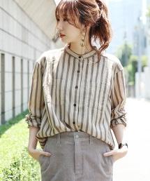 梨面布立領直條紋襯衫