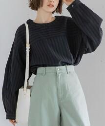 直條紋拼接套頭罩衫(民族風/自然風格/橫條紋)