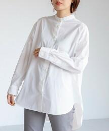 USA美國棉長版立領襯衫#(弧形下擺)