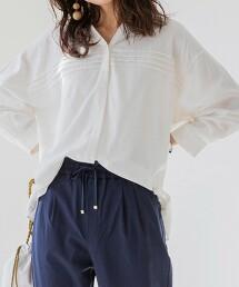YOKUBARI亞麻・細褶襯衫罩衫