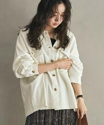 厚磅綾織軍裝襯衫