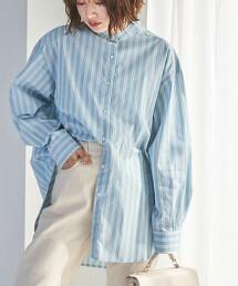 混紡棉 立領襯衫#