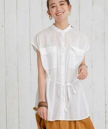 印度棉 短袖立領襯衫#