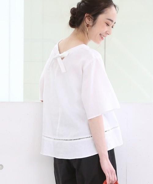 法國亞麻後背蝴蝶結蕾絲套衫