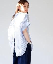 法國亞麻 開襟領 罩衫#