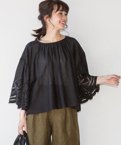 【『Liniere』6月號刊載・Market】扇形蕾絲袖罩衫