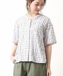 皺褶格紋水手服襯衫