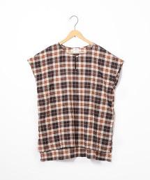 【可成套】縮褶格紋罩衫