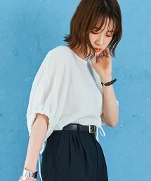縮摺 棉紗泡泡袖罩衫