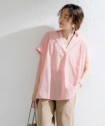 平織 開襟領罩衫