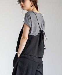 【2件組】可成套 陰影直條紋 吊帶衫×T恤成套組