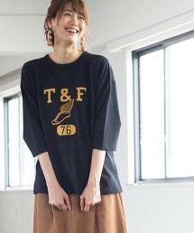 墊紗印刷T恤(7分袖上衣)