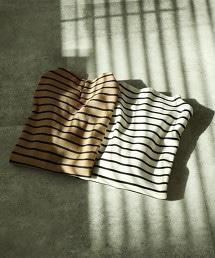 ST毛圈布微高領橫條紋上衣