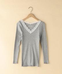 羅紋抽針蕾絲V領T恤(內搭)