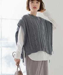 繩紋背心×弧形下擺 長袖兩件套組(可成套/層次)