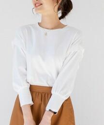 抽摺肩線7分袖T恤
