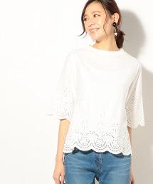蕾絲刺繡5分袖 T恤