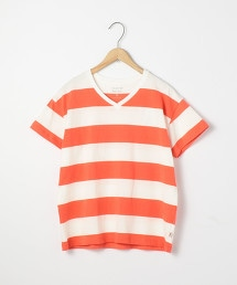 USA休閒橫條紋V領棉T恤