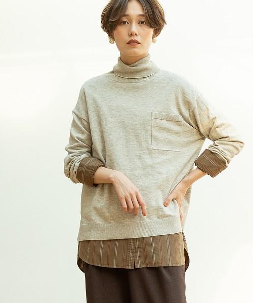 棉毛線高領套頭上衣