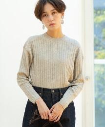 棉/氂牛毛寬版羅紋針織衫