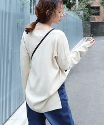 柔滑V領中長版針織罩衫