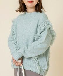 混色 流蘇 針織套頭毛衣