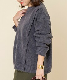 微高領 拼接羅紋針織罩衫