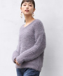 【可手洗】起毛V領毛衣