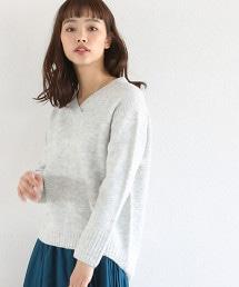 【可手洗】彈性絨布V領毛衣