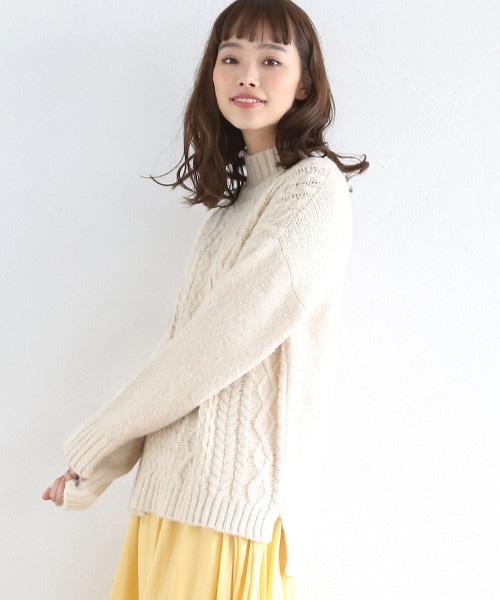 【可手洗】MIX麻花高領寬版毛衣