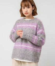 起毛橫條紋毛衣