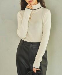 邊緣配色羅紋高領針織衫