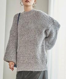 混色 繭型寬版毛衣