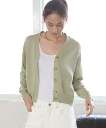 棉質中密織V領對襟外套