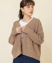輕薄繩紋針織對襟外套#