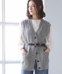 再生羊毛麻花針織背心