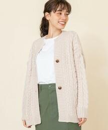 低密織麻花對襟外套