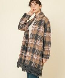 流蘇披肩風格紋對襟外套