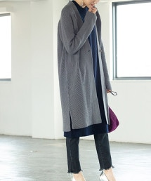 畦編 長版 對襟外套