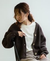 【可手洗】小羔羊毛 畦編 對襟外套