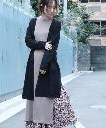 柔滑V領長版針織對襟外套