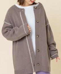 2WAY毛氈 刺繡針織對襟外套(套頭毛衣)